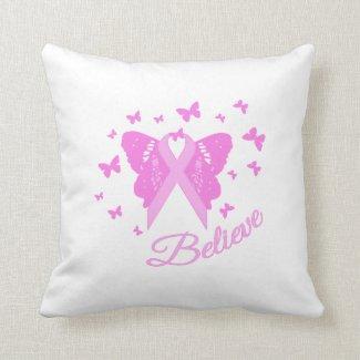 Believe Butterfly Awareness Throw Pillow