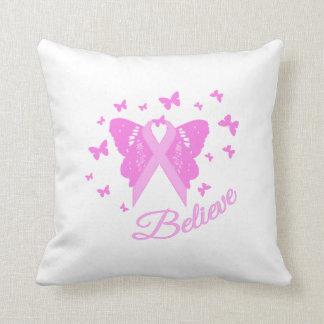 Believe Butterfly Awareness Throw Pillows