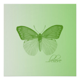 Believe Butterfly Lime Posters