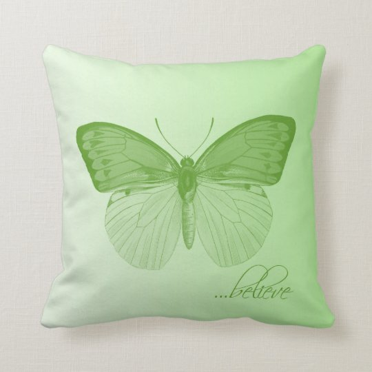 Believe Butterfly Lime Throw Pillow