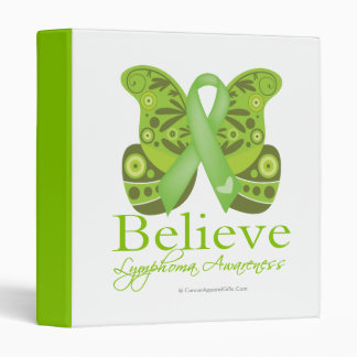 Believe Butterfly -  Lymphoma Awareness 3 Ring Binder