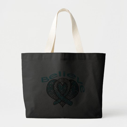 Believe Cervical Cancer Large Tote Bag
