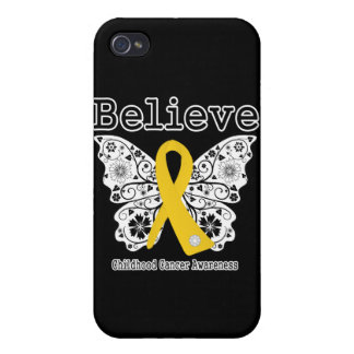 Believe - Childhood Cancer Butterfly Cover For iPhone 4
