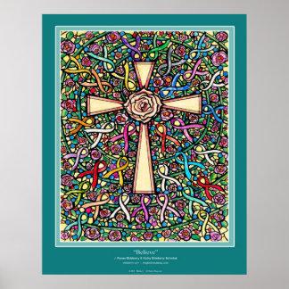 """""""Believe"""" Christian Cross ekleberry color ribbonss Poster"""