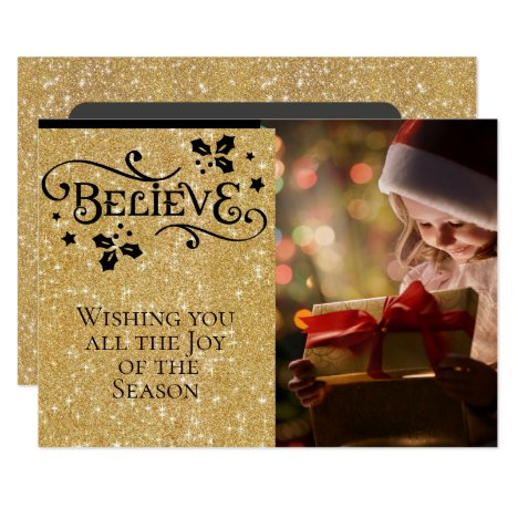 BELIEVE /Christmas/2-Sided/Gold-Black Personalized Card