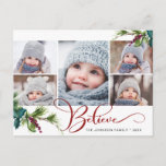 """Believe Christmas 5 PHOTO Collage Greeting Holiday Postcard<br><div class=""""desc"""">Believe Christmas 5 PHOTO Collage Greeting Holiday Postcard.</div>"""