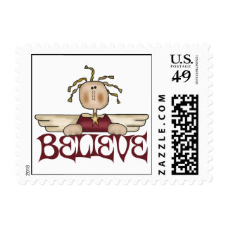 Believe Christmas Angel Postage Stamps