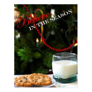 Believe - Christmas cookies & milk for Santa Postcard