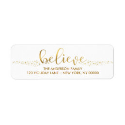 Believe Christmas Faux Gold Foil Hand Script Label