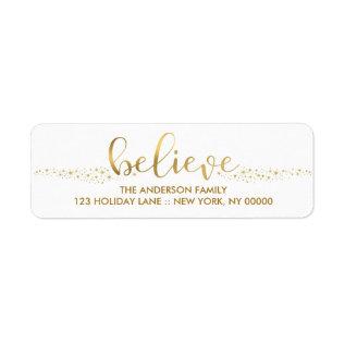 Believe Christmas Faux Gold Foil Hand Script Label at Zazzle