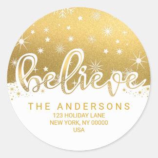 Believe Christmas Gold Handwritten Address Classic Round Sticker