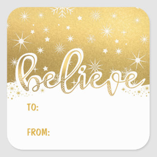 Believe Christmas Gold Handwritten To-From Gift Square Sticker