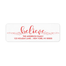 Believe Christmas Hand Lettered Script Label