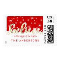 Believe Christmas Red and Gold Holiday Script Postage