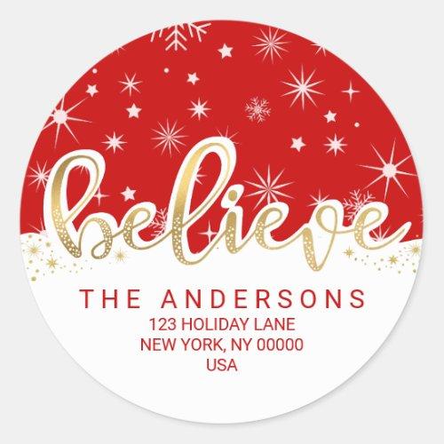 Believe Christmas Red Gold Script Return Address Classic Round Sticker