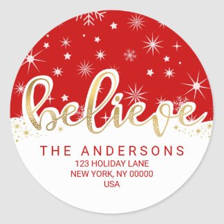 Believe Christmas Red Gold Script Return Address Classic Round Sticker