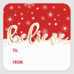 """Believe Christmas Red Handwritten Gift Tag Sticker<br><div class=""""desc"""">Modern handwritten script text with snow-capped lettering for personalized holiday To-From gift tag stickers.</div>"""