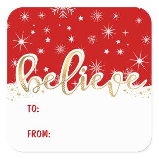 Believe Christmas Red Handwritten Gift Tag Sticker