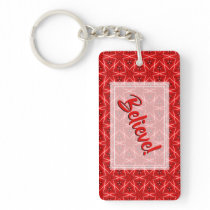 Believe! - Christmas Red Star Pattern 2 Keychain