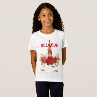 Believe Christmas Unicorn T-Shirt