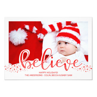 Believe Christmas Whimsical Hand Script Photo Card
