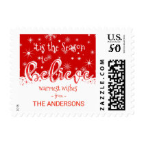 Believe Christmas Whimsical Hand Script Postage