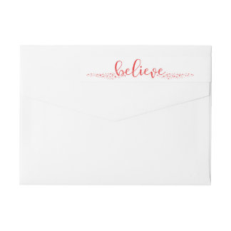 Believe Christmas Whimsical Hand Script Wrap Label