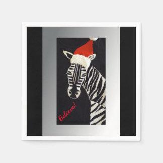 Believe! Christmas Zebra with Red Santa Hat Napkin