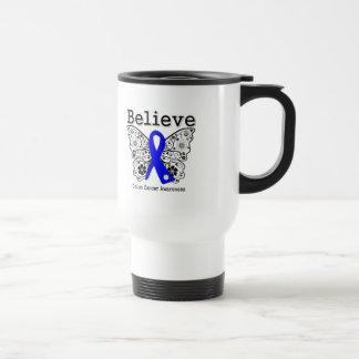 Believe - Colon Cancer Butterfly 15 Oz Stainless Steel Travel Mug