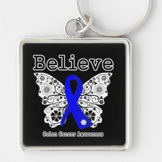 Believe - Colon Cancer Butterfly Silver-Colored Square Keychain
