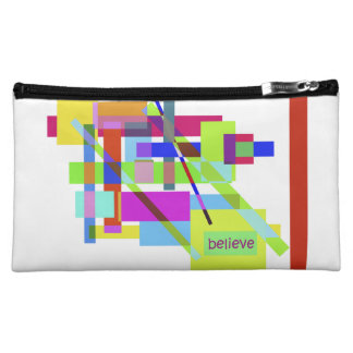 """Believe"" Colorful Boxes Abstract Design Cosmetic Bags"