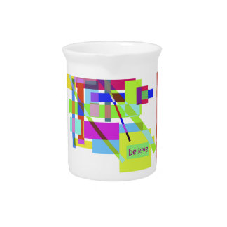 """""""Believe"""" Colorful Boxes Abstract Design Drink Pitchers"""