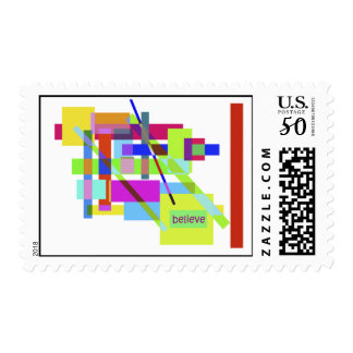 """Believe"" Colorful Boxes Abstract Design Postage"