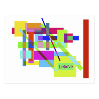 """""""Believe"""" Colorful Boxes Abstract Design Postcard"""