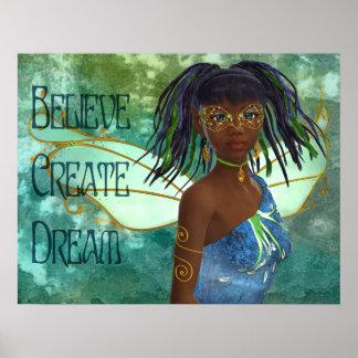 Believe,Create, Dream African American Fairy Posters