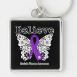 Believe Crohns Disease Awareness Silver-Colored Square Keychain