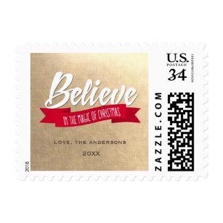 Believe. Custom Christmas Postage Stamps