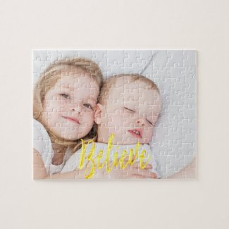 Believe custom family photo kids or pet jigsaw puzzle