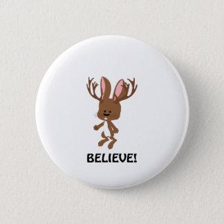 Believe! Cute Jackalope Pinback Button