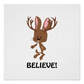 Believe! Cute Jackalope Poster