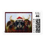 BELIEVE- Dachshund Dogs as Santa Reindeer Violano Stamps