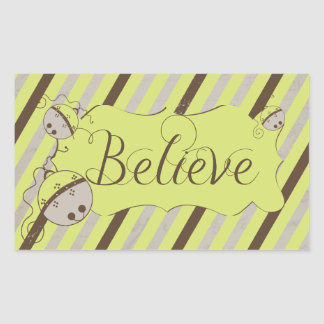 Believe Diagonal Stripes Rectangle Sticker