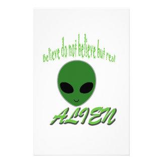 Believe Do Not Believe But Real Alien Stationery Paper