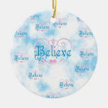Believe Double-Sided Ceramic Round Christmas Ornament