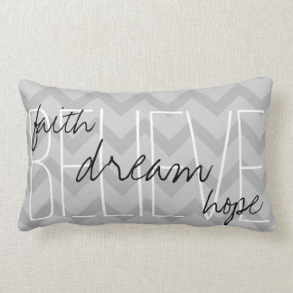 believe dream faith hope gray throw pillow