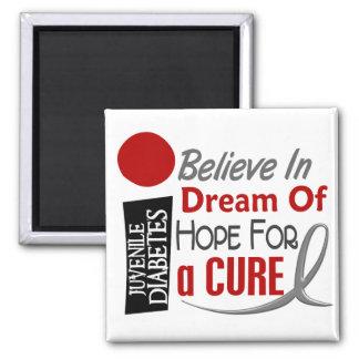 BELIEVE DREAM HOPE Juvenile Diabetes T-Shirts 2 Inch Square Magnet