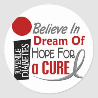 BELIEVE DREAM HOPE Juvenile Diabetes T-Shirts Classic Round Sticker