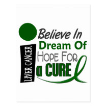 BELIEVE DREAM HOPE Liver Cancer (Emerald Green) Postcard