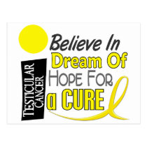 BELIEVE DREAM HOPE Testicular Cancer T-Shirts Postcard