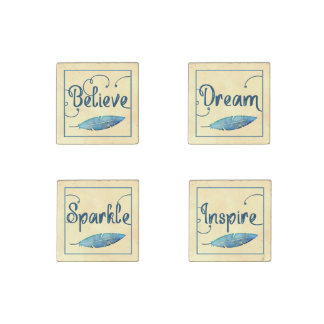 Believe Dream Inspire Sparkle Feather Watercolor Stone Magnet